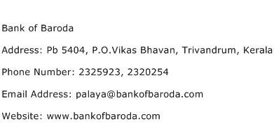 Bank of Baroda Address Contact Number
