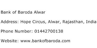 Bank of Baroda Alwar Address Contact Number