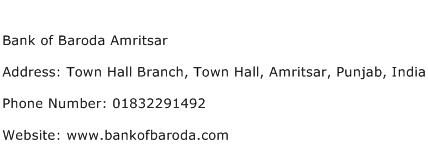 Bank of Baroda Amritsar Address Contact Number