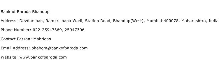 Bank of Baroda Bhandup Address Contact Number