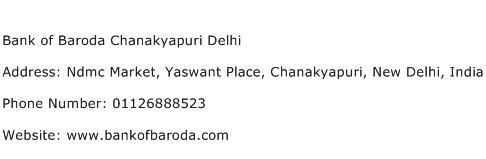 Bank of Baroda Chanakyapuri Delhi Address Contact Number