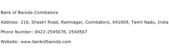 Bank of Baroda Coimbatore Address Contact Number