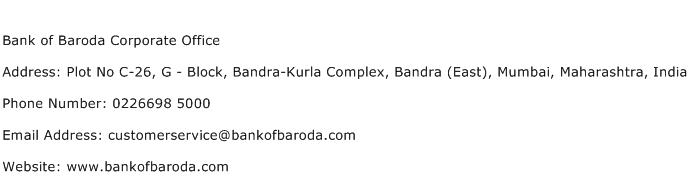 Bank of Baroda Corporate Office Address Contact Number