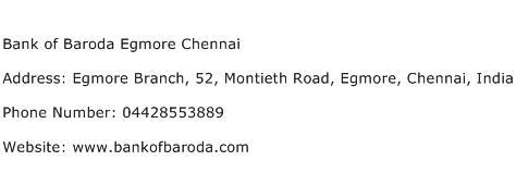 Bank of Baroda Egmore Chennai Address Contact Number