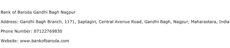 Bank of Baroda Gandhi Bagh Nagpur Address Contact Number
