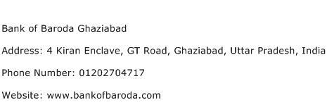 Bank of Baroda Ghaziabad Address Contact Number