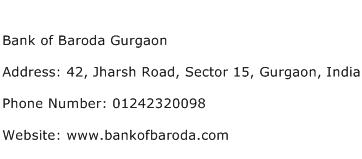 Bank of Baroda Gurgaon Address Contact Number