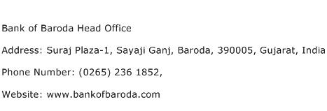 Bank of Baroda Head Office Address Contact Number