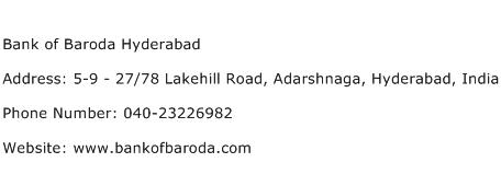 Bank of Baroda Hyderabad Address Contact Number