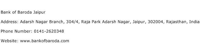 Bank of Baroda Jaipur Address Contact Number