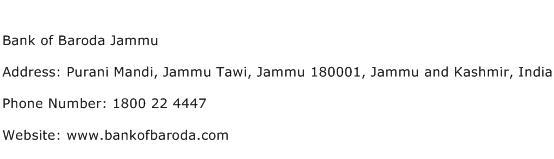 Bank of Baroda Jammu Address Contact Number