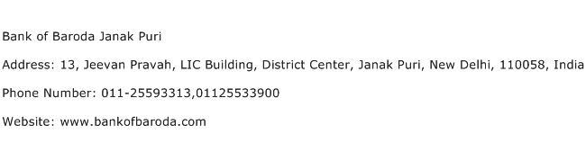 Bank of Baroda Janak Puri Address Contact Number