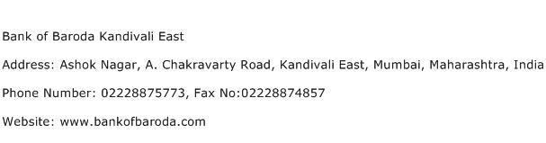Bank of Baroda Kandivali East Address Contact Number