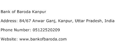 Bank of Baroda Kanpur Address Contact Number
