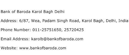 Bank of Baroda Karol Bagh Delhi Address Contact Number