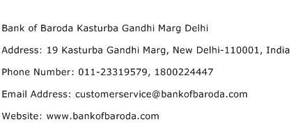 Bank of Baroda Kasturba Gandhi Marg Delhi Address Contact Number