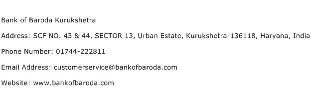 Bank of Baroda Kurukshetra Address Contact Number