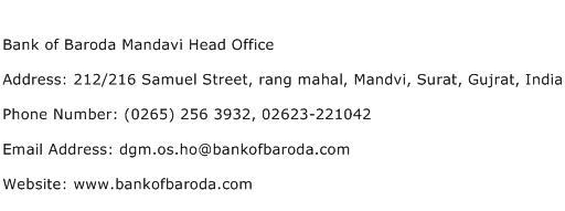 Bank of Baroda Mandavi Head Office Address Contact Number