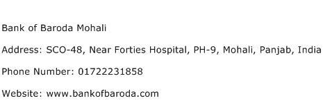 Bank of Baroda Mohali Address Contact Number