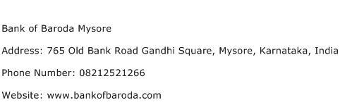 Bank of Baroda Mysore Address Contact Number