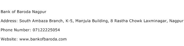 Bank of Baroda Nagpur Address Contact Number