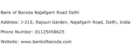 Bank of Baroda Najafgarh Road Delhi Address Contact Number