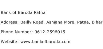 Bank of Baroda Patna Address Contact Number
