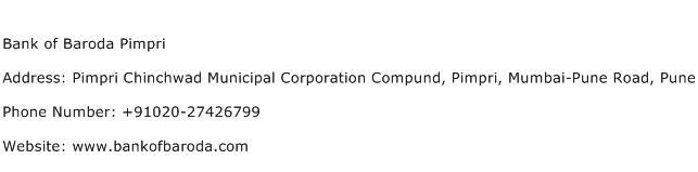 Bank of Baroda Pimpri Address Contact Number