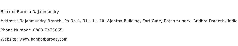 Bank of Baroda Rajahmundry Address Contact Number