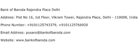 Bank of Baroda Rajendra Place Delhi Address Contact Number