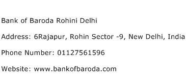 Bank of Baroda Rohini Delhi Address Contact Number