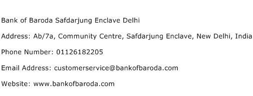 Bank of Baroda Safdarjung Enclave Delhi Address Contact Number