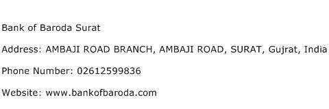 Bank of Baroda Surat Address Contact Number