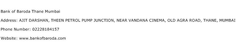 Bank of Baroda Thane Mumbai Address Contact Number