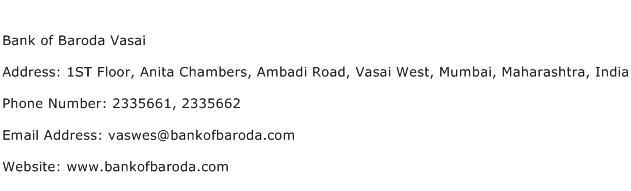 Bank of Baroda Vasai Address Contact Number