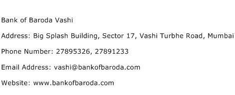 Bank of Baroda Vashi Address Contact Number