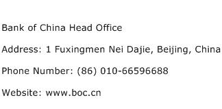 Bank of China Head Office Address Contact Number