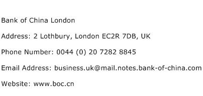 Bank of China London Address Contact Number