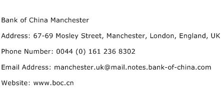 Bank of China Manchester Address Contact Number