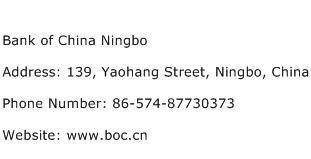 Bank of China Ningbo Address Contact Number