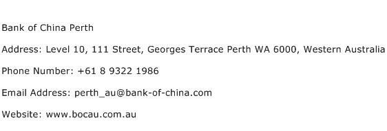 Bank of China Perth Address Contact Number