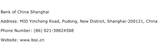 Bank of China Shanghai Address Contact Number