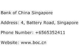 Bank of China Singapore Address Contact Number