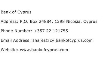 Bank of Cyprus Address Contact Number
