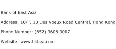 Bank of East Asia Address Contact Number