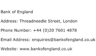 Bank of England Address Contact Number