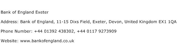 Bank of England Exeter Address Contact Number
