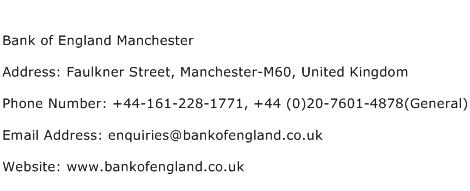 Bank of England Manchester Address Contact Number