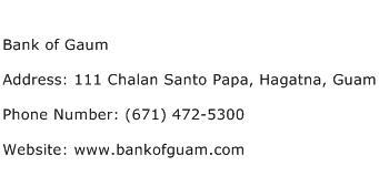 Bank of Gaum Address Contact Number