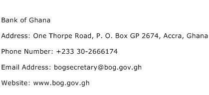 Bank of Ghana Address Contact Number